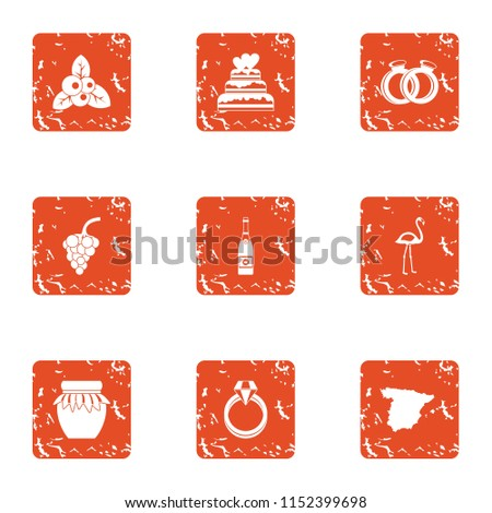 Amour icons set. Grunge set of 9 amour vector icons for web isolated on white background
