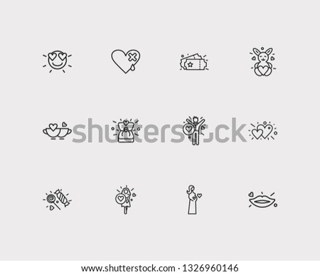 Amour icons set. Hearts and amour icons with girl in love, candies, heart with plaster. Set of entry for web app logo UI design.