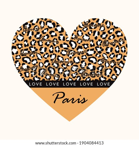 Amour love paris heart skin animal abstract,graphic design print t-shirts fashion,vector,poster,card Foto stock ©