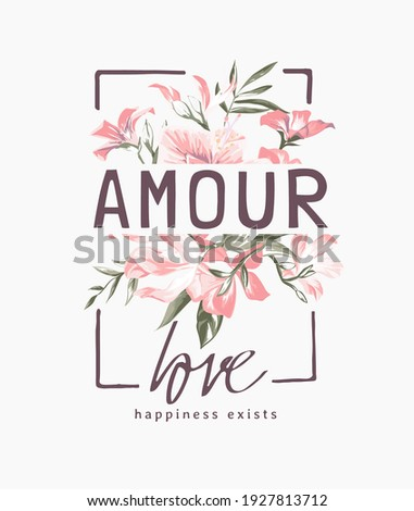 amour love slogan on pink bouquet of flowers background illustration, amour is  French word means love Foto stock ©