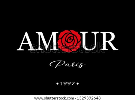 Amour Paris Text with Red Rose Illustration, Fashion and Poster Print Design