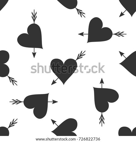 Amour symbol with heart and arrow icon seamless pattern on white background. Love sign. Valentines symbol. Flat design. Vector Illustration