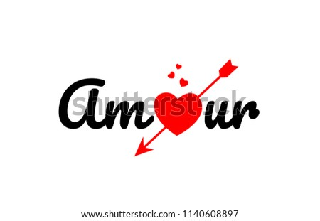 amour word text with red broken heart with arrow concept, suitable for logo or typography design