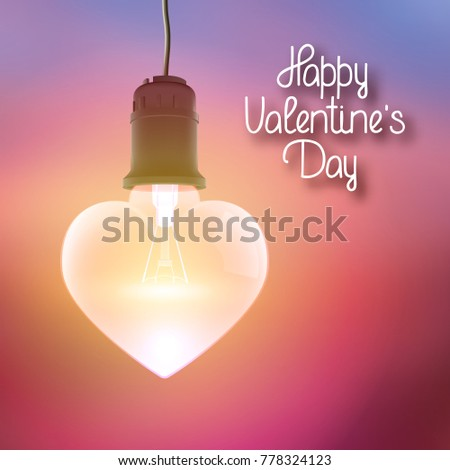 Amourous bright poster with greeting inscription and realistic hanging glowing bulb in shape of heart vector illustration stock photo
