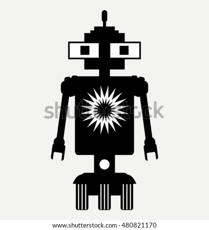 amphibious robot, icon, flat illustration isolated on white background