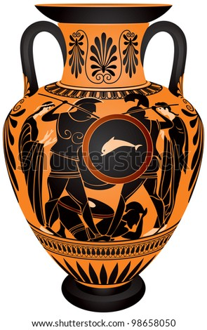 Amphora, Ancient Greece black-figure vase painting Hoplite battle vector images, ceramic pottery for the vine and olive oil