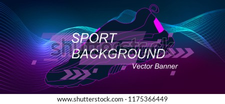 Amplitude Abstract Background with a colored dynamic waves. Poster for Sports. Abstract soundtrack wave energy background, Vector illustration with dynamic waves, arrows, lines for Sports Poster.