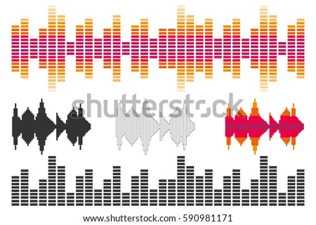 Stock Photo Amplitude of sound vibrations, sound, amplitude. Flat design, vector illustration, vector.