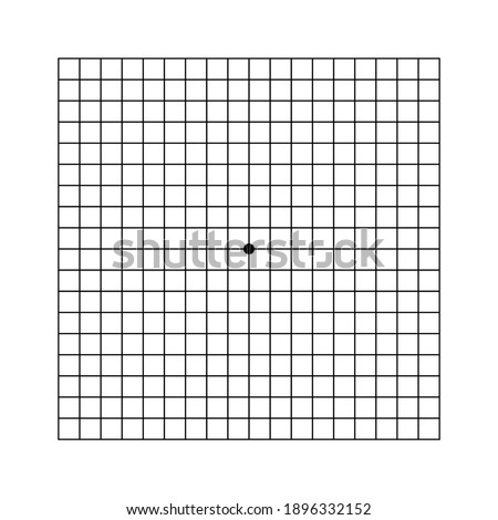 Amsler grid scotoma eye test. Vector printable chart retina examination. Grid with dot in centre. Vision control.