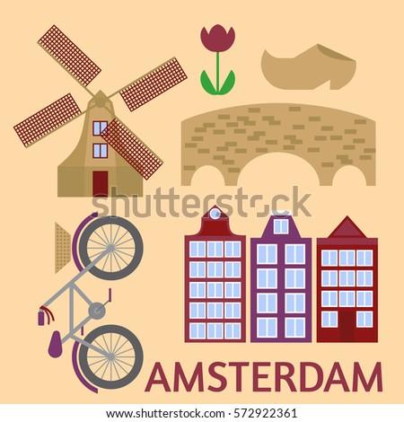 amsterdam city flat line art