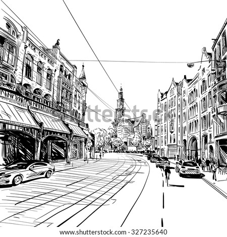 amsterdam hand drawn  vector