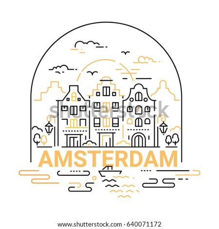 Amsterdam - modern vector line travel illustration.  Landmark image. An unusual composition with a city, building, river, boat, sunset, bird, cloud, lamp in the sky background