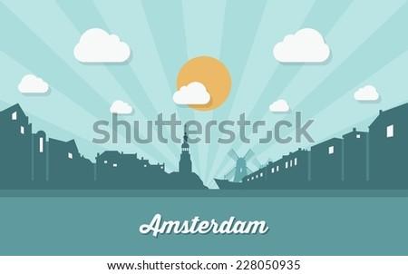 amsterdam skyline   flat design