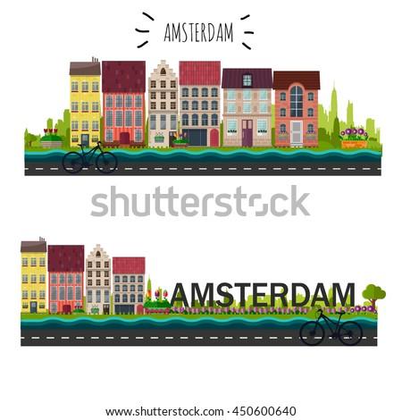 amsterdam skyline vector