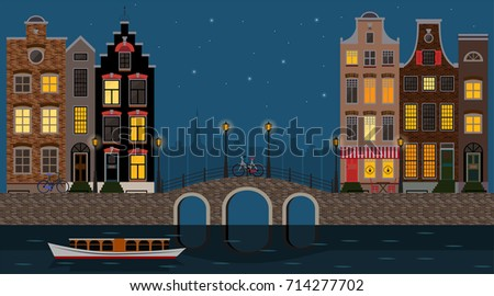 Amsterdam traditional houses night view with bridge, canal and boat, old city center. Vector illustration, flat design template