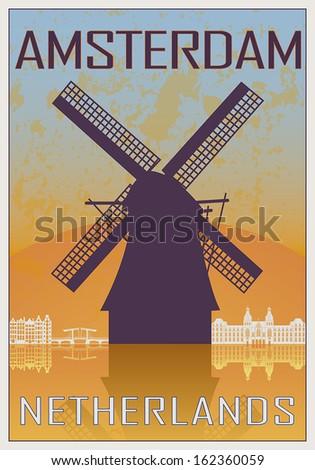 amsterdam vintage poster in...