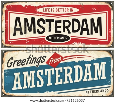 Holland postcard vector download free vector art stock graphics amsterdam vintage signs collection greetings from amsterdam retro souvenir template travel and vacation theme m4hsunfo