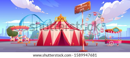 Amusement carnival park with circus tent, ferris wheel, roller coaster, merry-go-round carousel and candy cotton booth Festive fair and recreation entertainment attractions Cartoon vector illustration ストックフォト ©