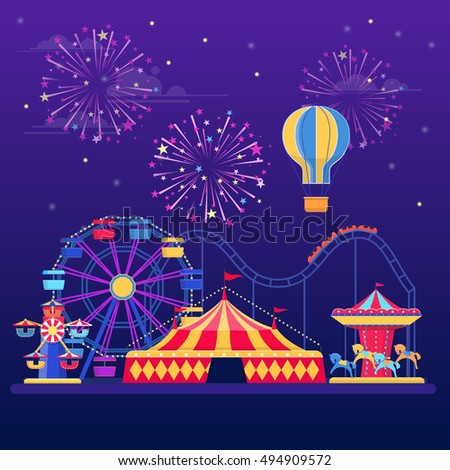 Amusement park at night with fireworks, balloon and  rides