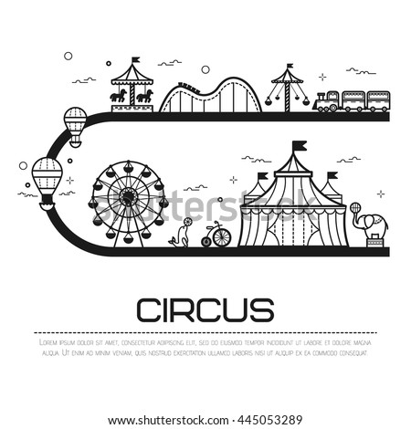 Amusement park background concept with line fairground elements with copy space, vector illustration