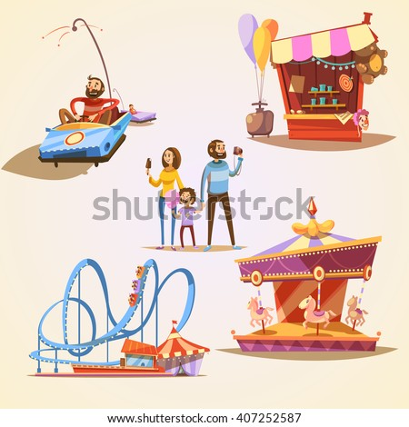 amusement park cartoon set with ...