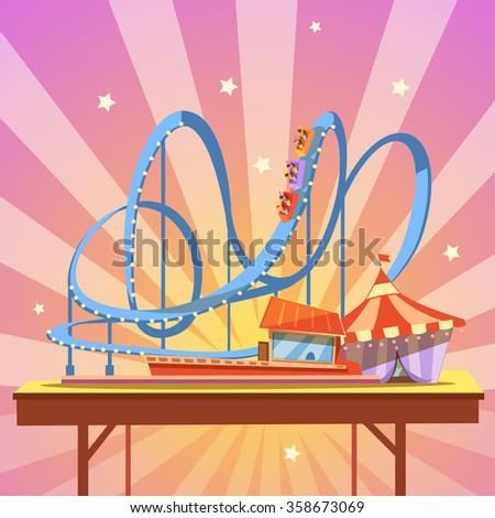 amusement park cartoon with...