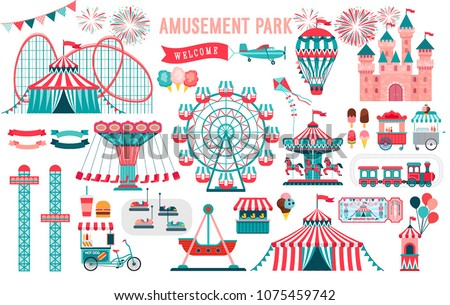 Amusement park, circus and fun fair theme set, with roller coasters, carousels, castle, air balloon. Vector illustration.