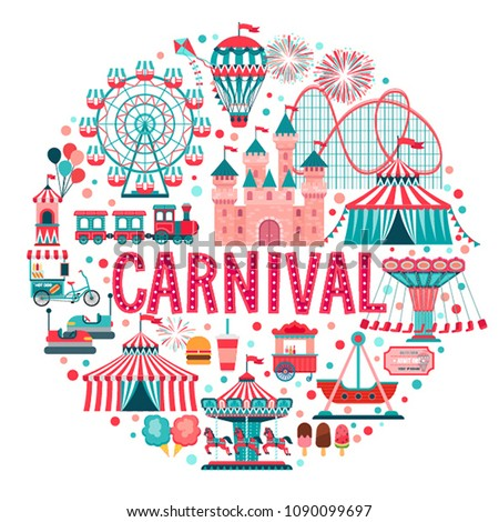 Amusement park concept, circus, carnival and fun fair theme set, with roller coasters, carousels, castle, air balloon. Vector illustration.