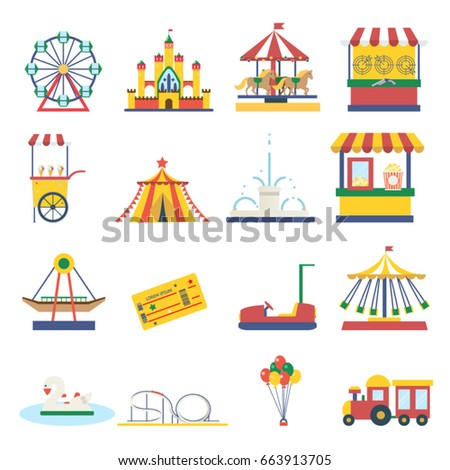 Amusement park elements isolated icons flat design concept vector illustration