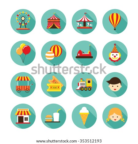 Amusement Park Flat Icons Set, Carnival, Fun Fair, Circus festival