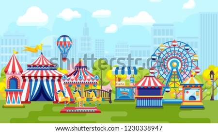 Amusement park for kids plaing vector illustration
