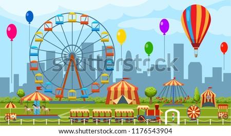 Amusement park. Fun park vector theme, kids carnival entertainments daytime, children amusing attractions cartoon illustration