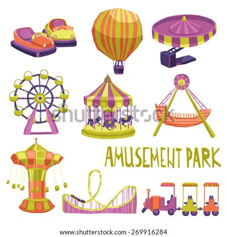 Amusement park funfair carnival summer attraction icons set isolated vector illustration