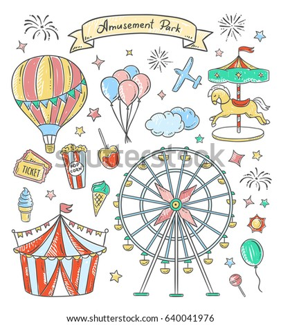 amusement park hand drawn...