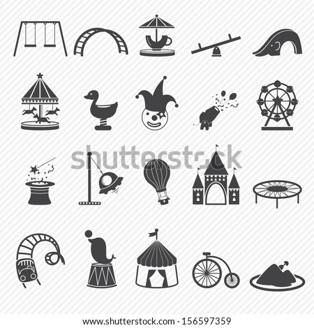 Amusement Park icons isolated on white background