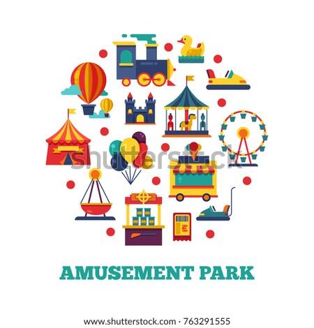Amusement park icons round concept. Amusement park, and carnival carousel, vector illustration