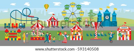 Amusement park illustration. Circus and ferris, fun fair and roller coaster. Parents and children have fun. Kids ride on carousels. - Shutterstock ID 593140508