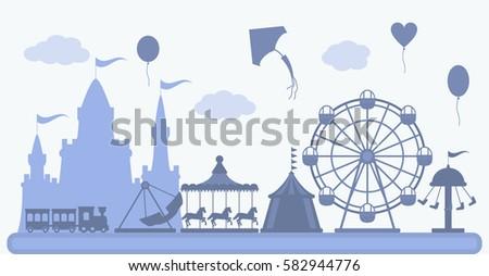 amusement park in flat vector