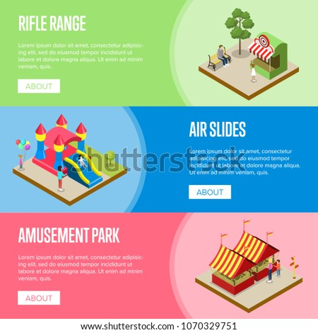 Amusement park isometric horizontal flyers with rifle range, air slides and striped tents. Funfair carnival banner, summer time family vacation, children attractions in theme park vector illustration.