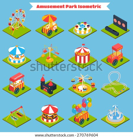 amusement park isometric icons