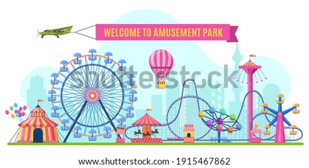Amusement park landscape. Attractions park ferris wheel, roller coaster and carnival carousel view. Festive park vector illustration. Illustration amusement park, festive carnival with rollercoaster