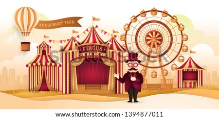 Amusement Park Landscape with Ferris wheel,Circus Tents,Carnival Fun Fair,Air balloon with Banner, Circus Barker with Hat, Glasses and Mustache, Day Scene festival, Paper art vector and illustration