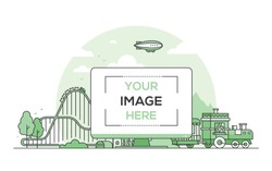 Amusement park - line design style vector illustration on white background. Green colored composition with a roller coaster, train. A computer with place for your image on the screen. Leisure concept