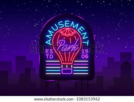 amusement park logo in neon