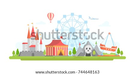 Amusement park - modern flat design style vector illustration. Lovely view with attractions, horror show, castle, airplane, big wheel silhouette, tent circus. Entertainment concept - Shutterstock ID 744648163