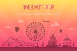 Amusement park - modern vector illustration with place for text. Landscape silhouette. Big wheel, attractions, benches, lanterns, trees, castle, carousel, people. Entertainment concept