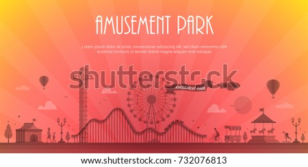 Amusement park - modern vector illustration with place for text. Landscape silhouette. Big wheel, attractions, benches, lanterns, trees, circus pavilion, carousel, people. Hot air balloon, airship