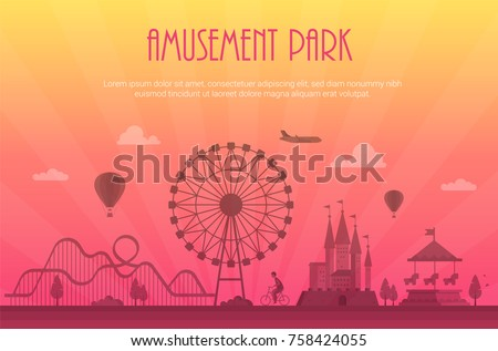 Amusement park - modern vector illustration with place for text. Landscape silhouette. Big wheel, attractions, benches, lanterns, trees, castle, carousel, people. Entertainment concept ストックフォト ©