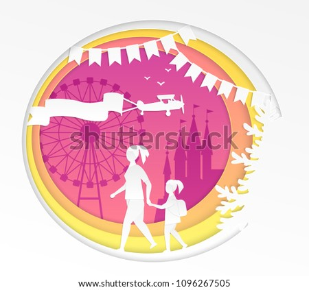 Amusement park - modern vector paper cut illustration on white background. High quality composition with mother and daughter going to the funfair with big wheel. Entertainment concept