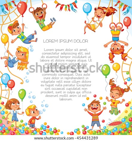 Amusement park. Playground. Children have fun on the rides. Template for advertising brochure. Ready for your message. Children look up with interest. Funny cartoon character. Vector illustration